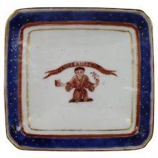 Antique 18th Century Chinese Export Porcelain Salt w Armorial Crest