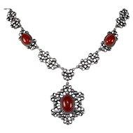 Vintage Signed Peruzzi Sterling Silver & Carnelian Italian Necklace