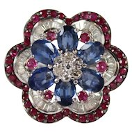 Large, 18K Gold Ring w Diamond, Sapphire & Ruby by Al Hafni Jewelers