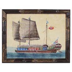 19th Century Chinese Export Pith Rice Paper Painting of a Junk Boat