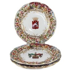 "Set of 4 Hand Painted German Porcelain Capodimonte Cabinet Plates w Armorials, Crowned ""N"" Mark"