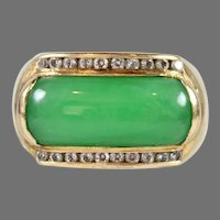 Vintage 18K Gold, Apple Green Jadeite and Diamond Saddle Ring