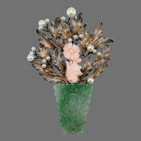 Vintage Large Carved Green Jade Gilt Silver Pendant Brooch w Coral & Pearls