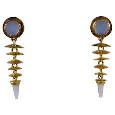 Jeff & Susan Wise Wisex2 18K & 22K Gold Earrings Blue Chalcedony Handmade