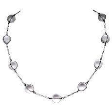 Antique Rock Crystal Pools of Light Necklace in Sterling Silver Mounts