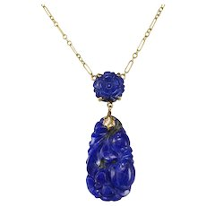 1920's 14K Gold Chinese Carved Lapis Lazuli Necklace Pendant