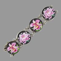 Vintage Toshikane Orchids & Chrysanthemum Bracelet in Sterling Silver