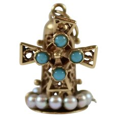 Fine Vintage 14K Gold Charm Filigree Windmill w/ Moving Blades,  Faux Turquoise & Seed Pearls