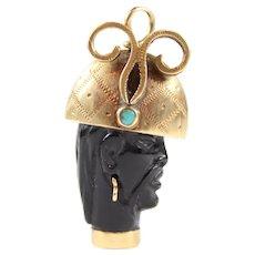 1950's Italian 14K  Gold & Coral Blackamoor Charm