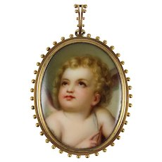 Large Antique 19th Century Hand Painted Cherub Portrait on Porcelain Pendant, 18K