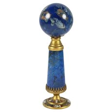 Antique Lapis Lazuli, Gilt Bronze and Enamel Wax Seal