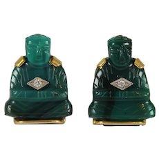 Large Pair Buddha Cufflinks Chrysoprase, Diamond  & 10K Gold