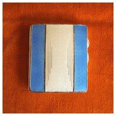 Sterling & Blue Enamel Guilloche Case