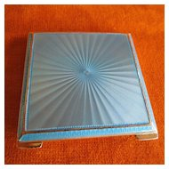 Sterling & Blue Enamel Guilloche Square Case