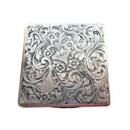 Silver Engraved Square Case circa 1920s