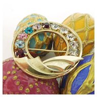 Vintage 12k Gold Filled Brooch Multi-Colored Rhinestones