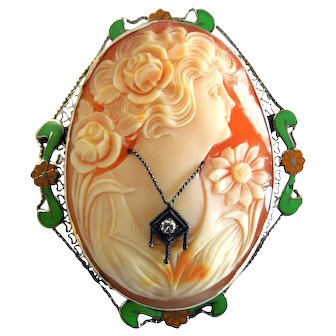Vintage 1930's 14K Habille Cameo of Goddess Flora  with Diamond