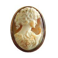Vintage 14k Gold Cameo Woman