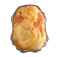 Large Vintage 14K Gold Shell Cameo