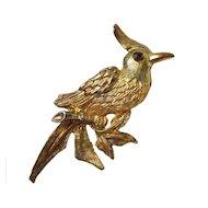 Vintage Gold Toned Bird Brooch circa 1960's