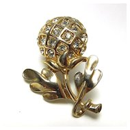 Vintage Gold Toned Flower Pin circa 1950's