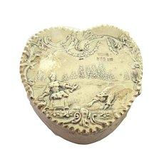 Late 19th Century Dutch 830 Silver Heart Trinket Box