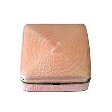 Hallmarked Pink Guilloche & Sterling Trinket Box