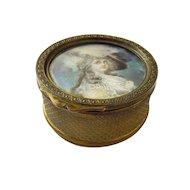 Antique French Gilt Bronze Jewelry Casket