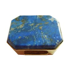 Vintage Italian Lapis and Silver Pill Box