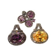 Marcasite and CZ Sterling Pendants (Set of 3)