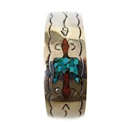 Turquoise and Red Coral  Chip Inlaid Sterling Cuff Bracelet