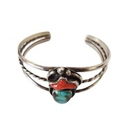 Sterling Cuff Bracelet with Turquoise and Coral