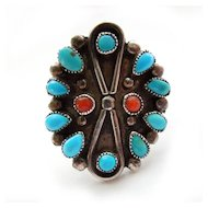 Sterling Native American Petit Point Turquoise Ring