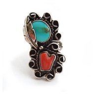 Sterling Native American Turquoise Coral Ring
