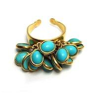 "Vintage Turquoise ""Ruffled"" 18k Gold Ring"