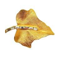 Gold-toned Leaf Brooch