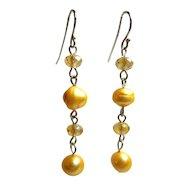 Sterling Dangling Freshwater Pearls Earrings