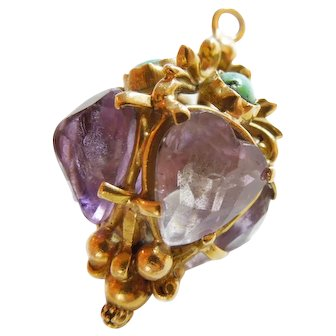 Etruscan Revival fob 18K amethyst & turquoise