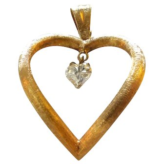 14K yellow florentine gold 3 prong hanging heart shaped diamond