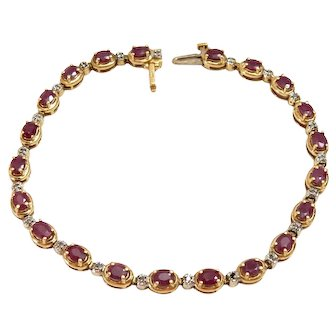 14k Gold Link Bracelet with Ruby and Diamond Accents