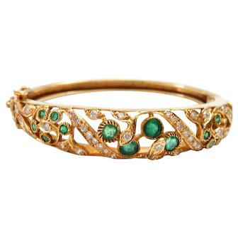 18k Gold Bangle with Emeralds and Diamonds