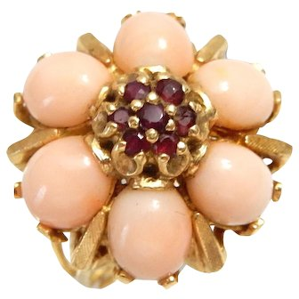 14k Gold Ring with Coral and Ruby size 6 1/4