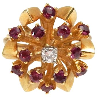 14k Gold Ruby & Diamond Ring size 5 3/4