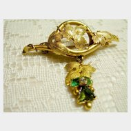 14 K  Emeralds, and Diamond Grape Design Brooch