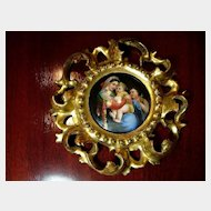 Hand Painted Madonna and Child in Gilt Rococo Frame