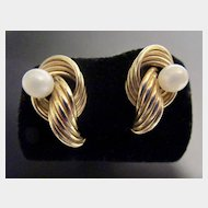 Elegant 14K Round Cultured Pearl Pierced Earrings