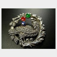 "Marcasite and Sterling Sterling Brooch in ""Dove and Wreath"" Design."