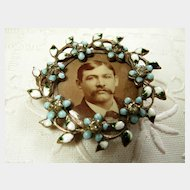 Superb Victorian Enamel Photo Brooch