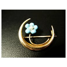 Victorian 10K Gold Enamel and Pearl Forget-Me-Not Brooch
