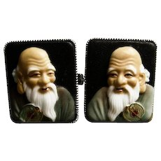 "Vintage Hand Painted Toshikane ""Immortals"" Porcelain Cufflinks"